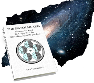 Hammar Axis book cover over a picture of a galaxy